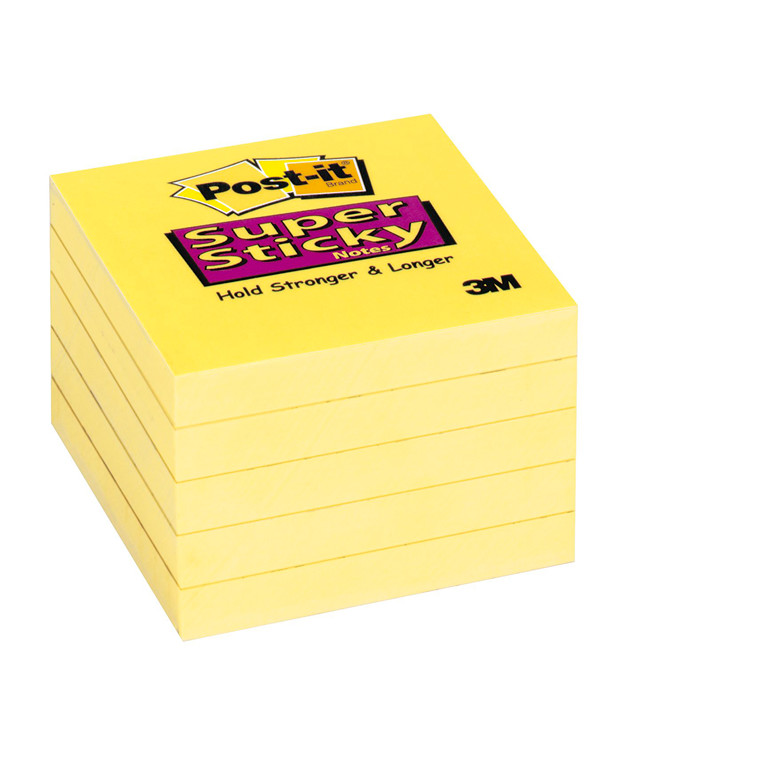 Post-it - Notes Super Sticky gule 76 x 76 mm 90 ark- 12 blokke