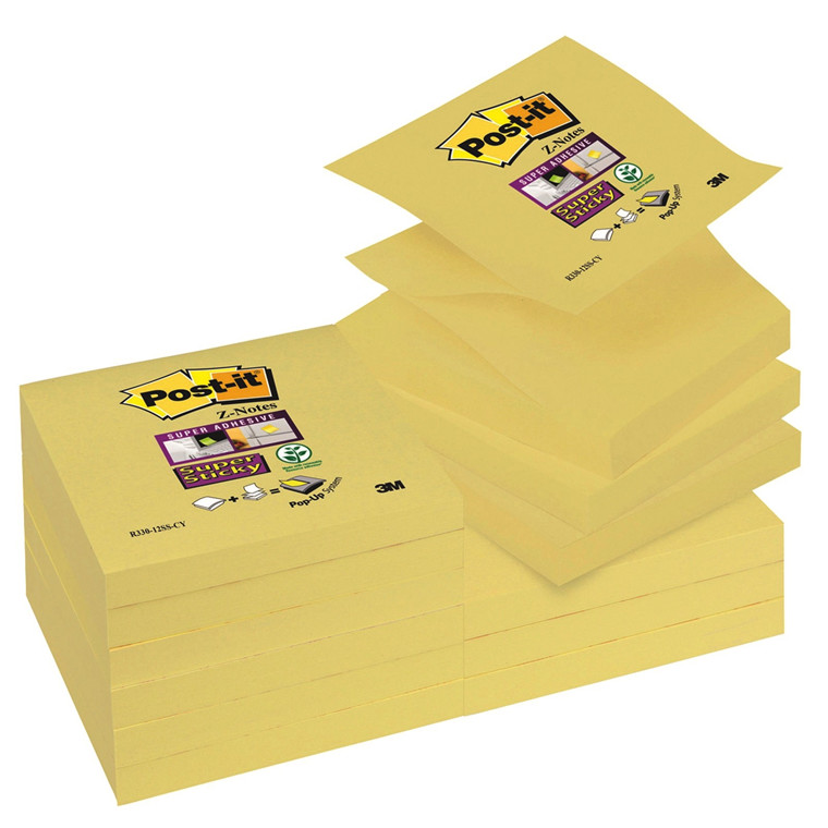 Post-it R330 - Gule Z-notes Super Sticky 76 x 76 mm - 12 blokke