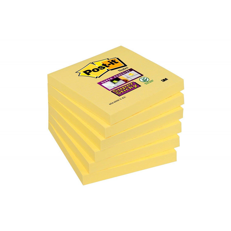 Post it sedler Super Sticky - Gul 76 x 76 mm