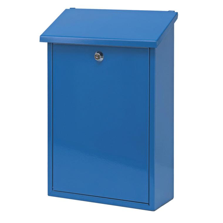 Postkasse, klar til vægmontering, blå,