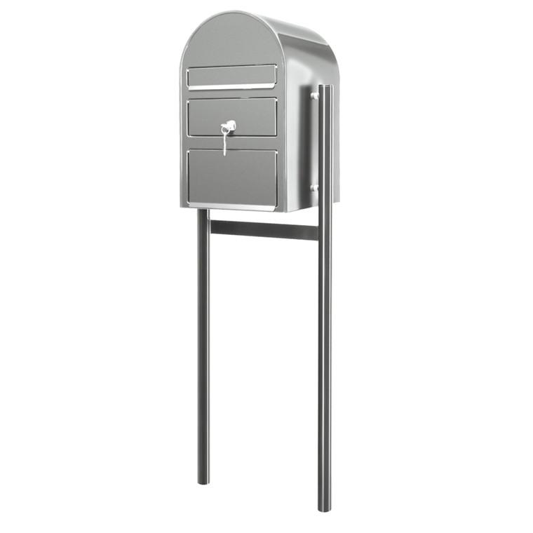 Postkasse SAM ekstra large, klar til jordmontering, mat stål,