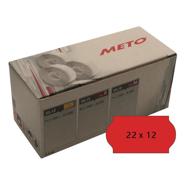 Prisetiket Meto 22x12mm neon rød klæb 2 1500stk/rul