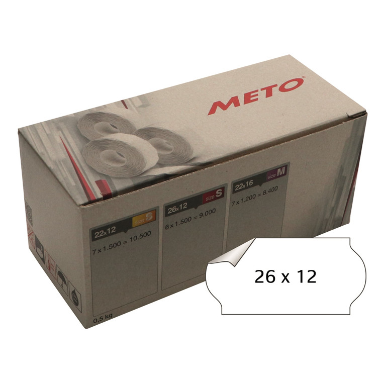 Prisetiket Meto 26x12mm hvid klæb 1 1500stk/rul