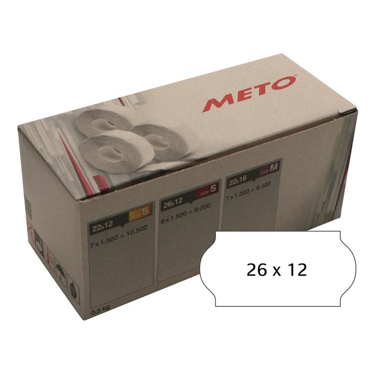Prisetiket Meto 26x12mm hvid klæb 2 1500stk/rul