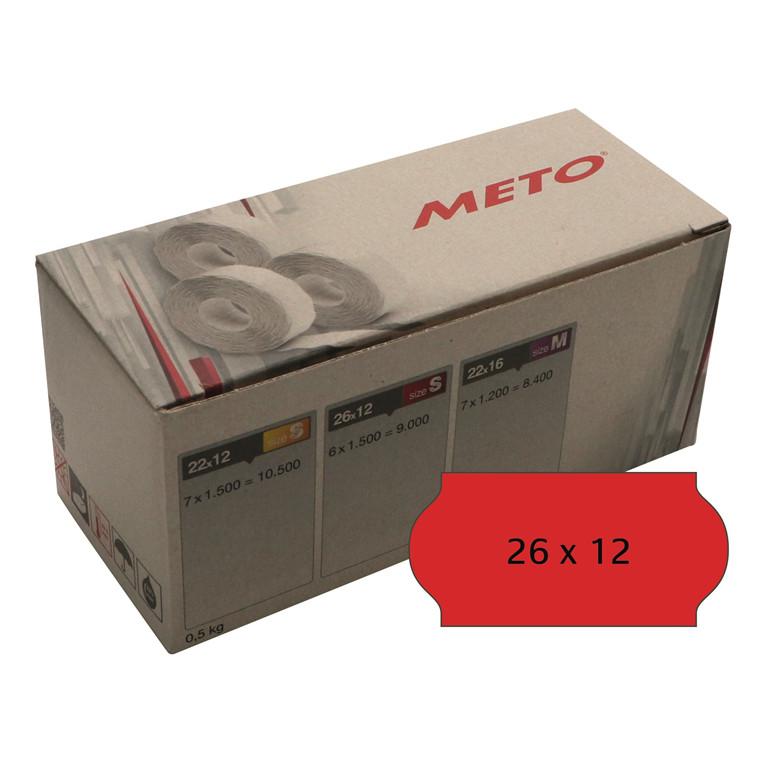 Prisetiket Meto 26x12mm neon rød klæb 2 1500stk/rul