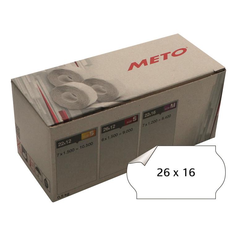 Prisetiket Meto 26x16mm hvid klæb 1 1200stk/rul
