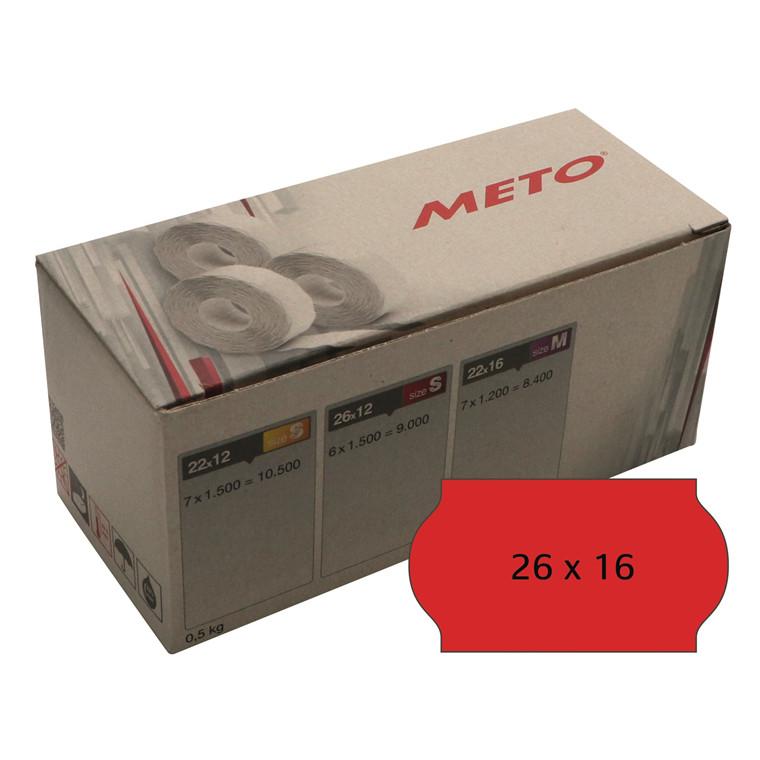 Prisetiket Meto 26x16mm neon rød klæb 2 1200stk/rul