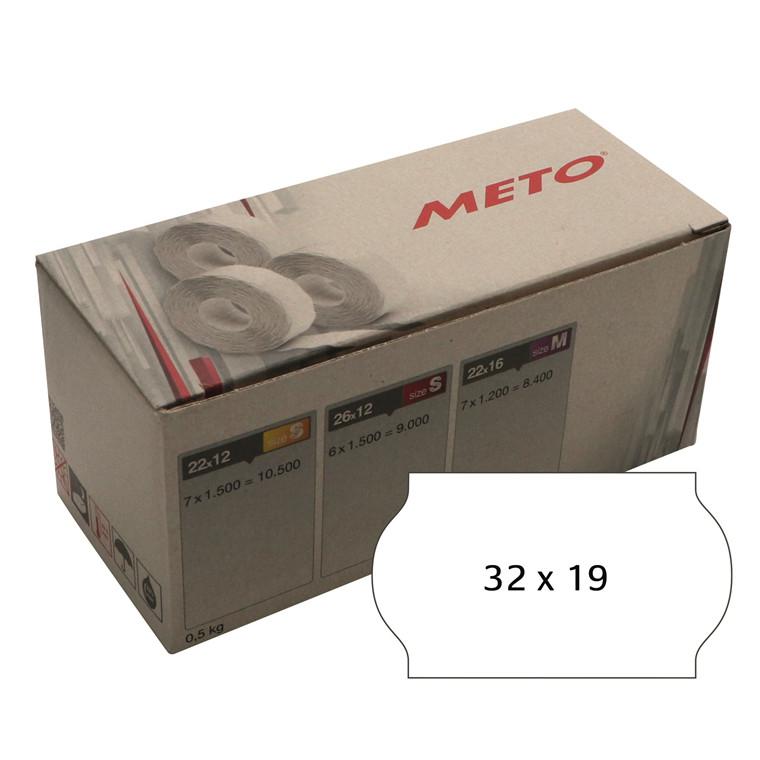 Prisetiket Meto 32x19mm hvid klæb 1 1000stk/rul