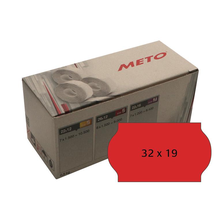 Prisetiket Meto 32x19mm neon rød klæb 2 1000stk/rul