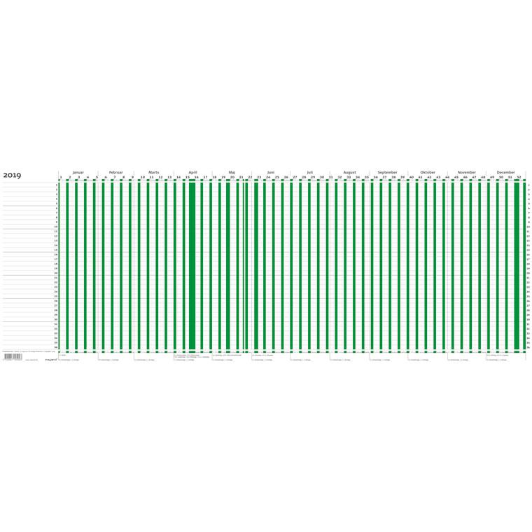 Projektplanner 2019 grøn 80 x 30 cm falset til A4 - 19 1050 00