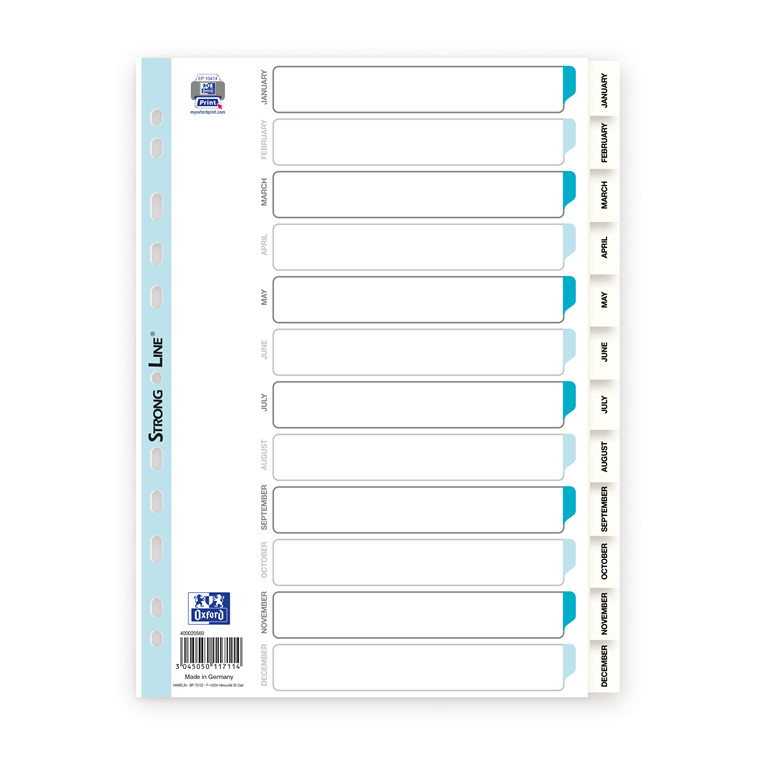 Register ELBA Strong-Line A4 Jan-Dec hvid 0,12mm