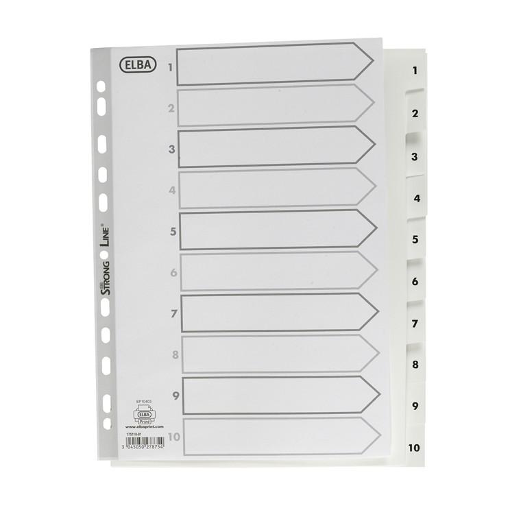 Register Elba Strongline A4 1-10 m/forblad PP hvid