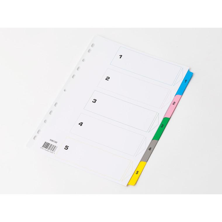 Karton faneblade 1-5 Mylar A4 - farvede faner med hvidt forblad