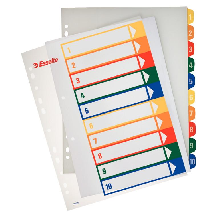 A4 maxi plastregister 1-10 Esselte - Farvede plastfaner og printbar forside