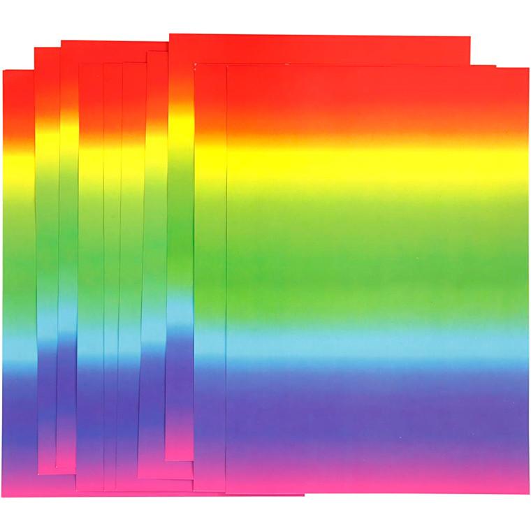 Regnbuekarton - A4 - 180 g - 10 ark