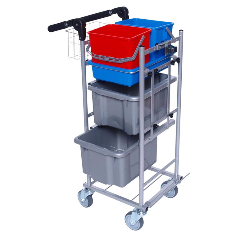 Rengøringsvogn, Ergo Kompakt, Indeholder: micro bund lille, gavl til styr, gavl kort, håndtag lille,