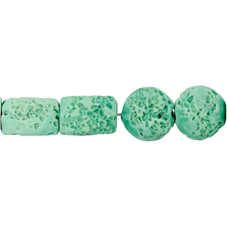 Resinperler, str. 24x38 & 31x22 mm, hulstr. 2 mm, grøn, 7ass.