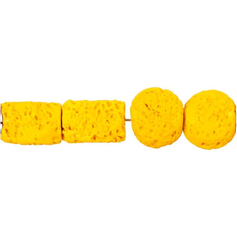 Resinperler, str. 24x38 & 31x22 mm, hulstr. 2 mm, karry, 7ass.