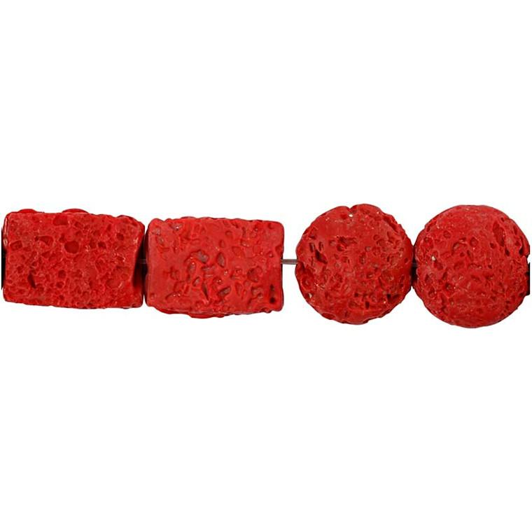 Resinperler, str. 24x38 & 31x22  mm, hulstr. 2 mm, koral, 7ass.