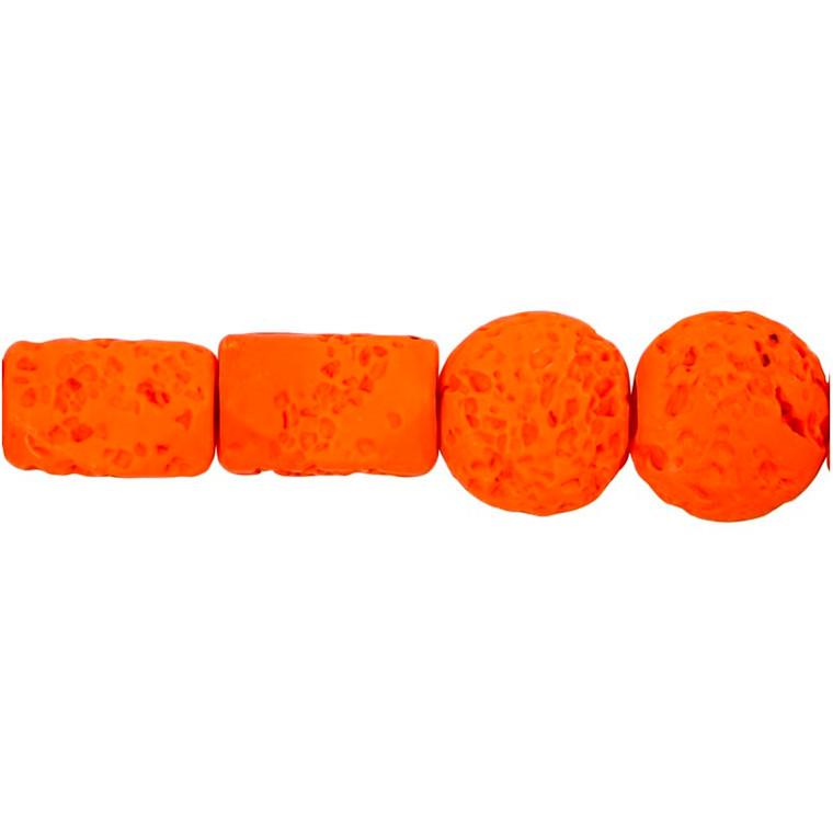 Resinperler, str. 24x38 & 31x22 mm, hulstr. 2  mm, lys orange, 7ass.