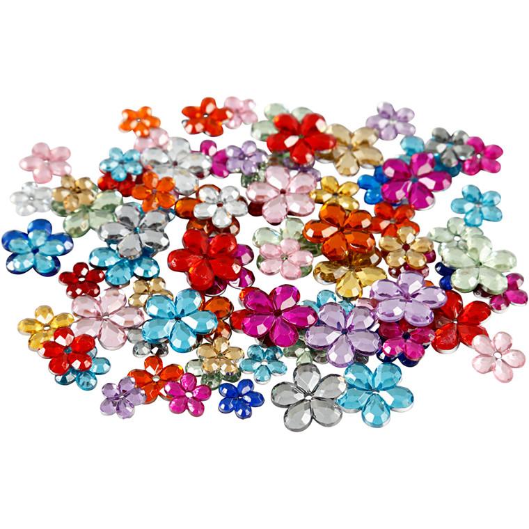 Rhinsten, 6+10+12 mm, ass. farver, blomster, 252ass.