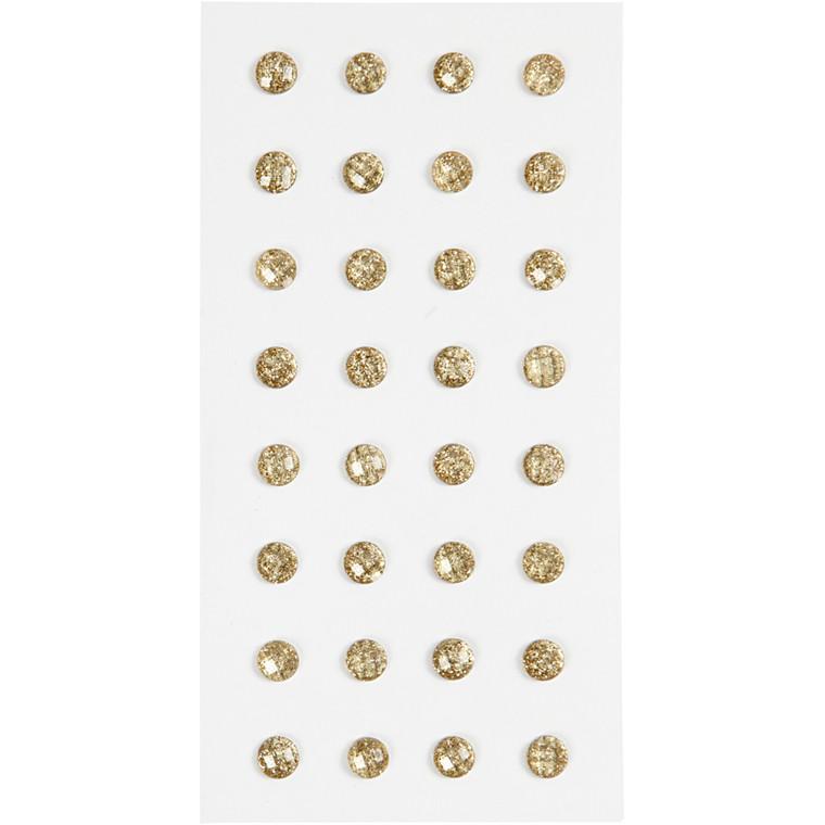 Rhinsten, guld, diam. 8 mm, 32stk