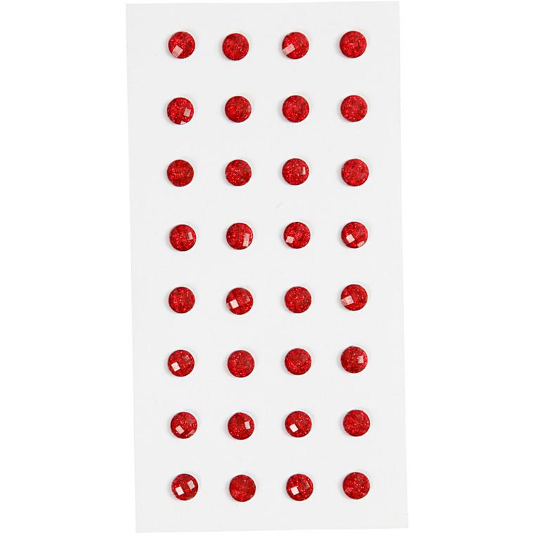 Rhinsten, rød, diam. 8 mm, 32stk