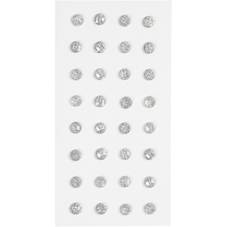 Rhinsten, sølv, diam. 8 mm, 32stk
