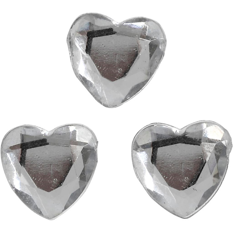 Rhinsten, str. 10 mm, sølv, hjerte, 150stk.