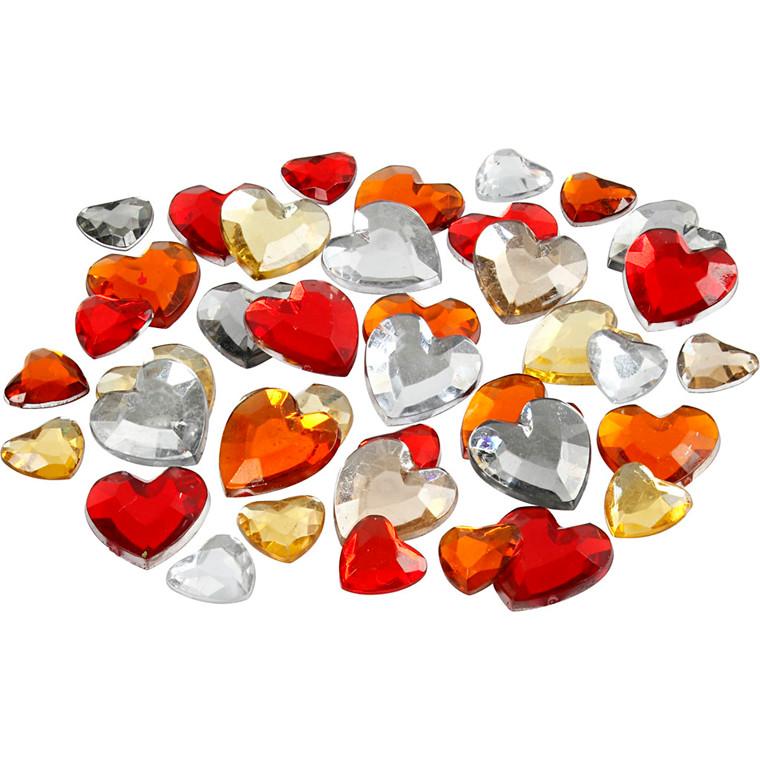 Rhinsten, str. 6+10+14 mm, rød harmoni, hjerter, 252ass.