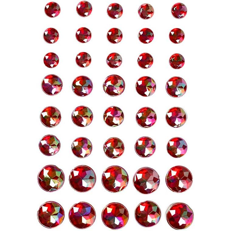Rhinsten størrelse 6+8+10 mm rød Copenhagen assorteret | 40 stk.