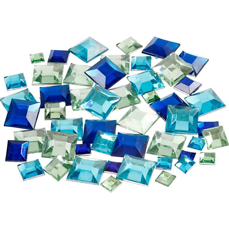 Rhinsten, str. 6+9+12 mm, blå harmoni, firkantede, 360ass.