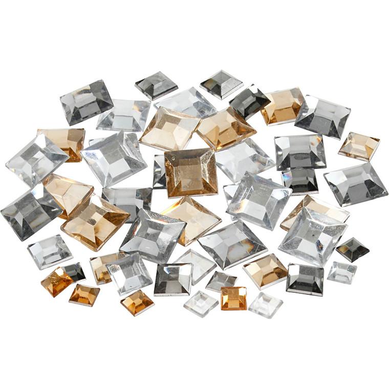 Rhinsten, str. 6+9+12 mm, sølv harmoni, firkantede, 360ass.