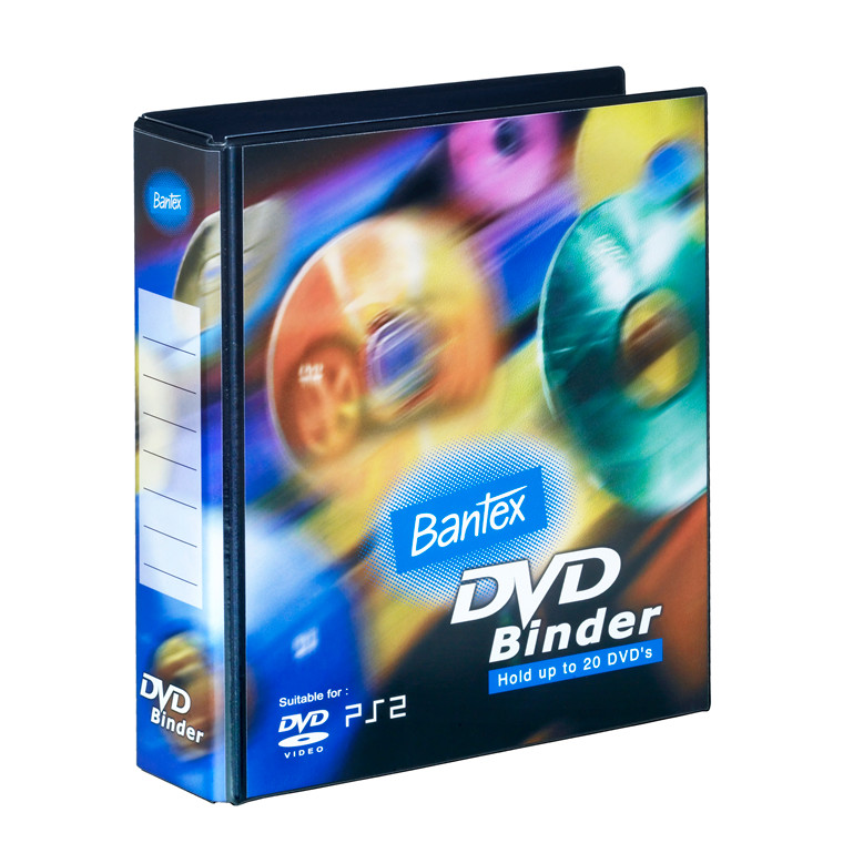 Ringordner DVD 2DR 40 mm m/20 lommer PP sort