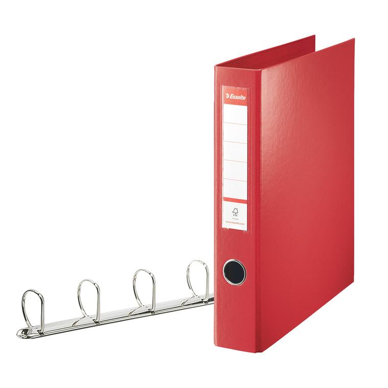 Ringordner rød A4 Maxi med 4 D-ringe og 62 mm ryg - Esselte 82403