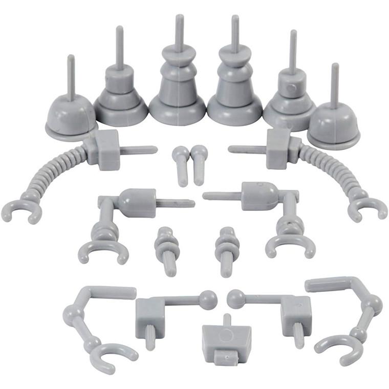 Robotdele størrelse 0,5-6 cm grå - 19 stk.