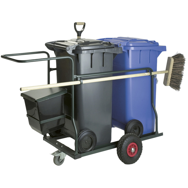 Robust trækvogn, med 2x120 l affaldscontainer, kost, spade, lille affaldsspand 21 l, grøn,