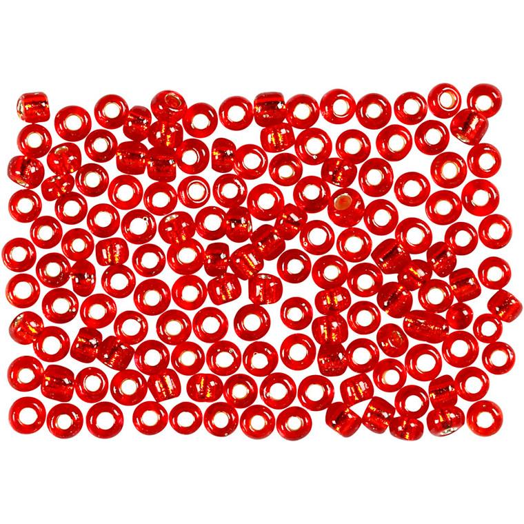 Rocai perler, dia. 3 mm, hulstr. 0,6-1,0 mm, rød metallic, 25g, str. 8/0