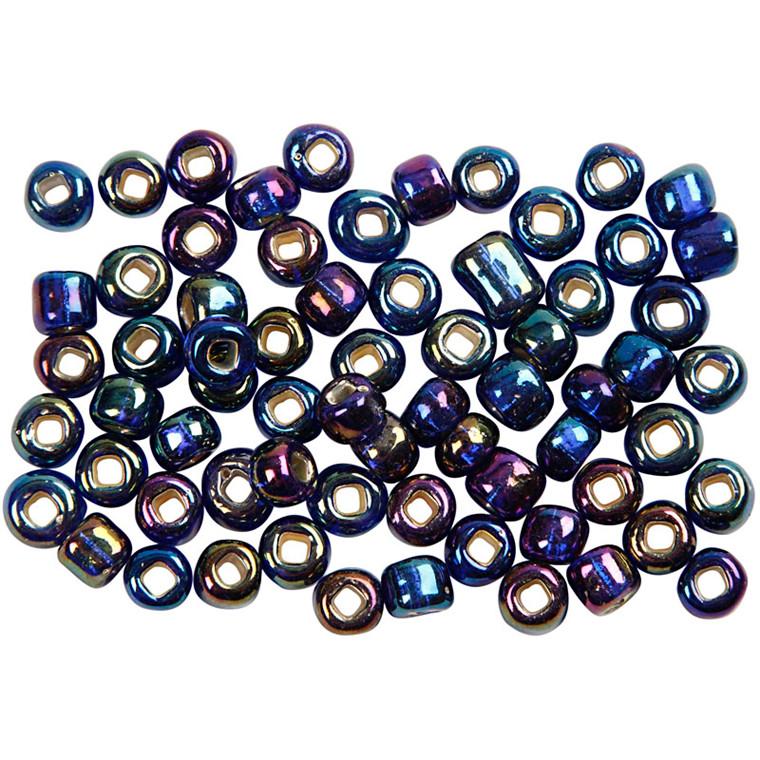 Rocaiperler, dia. 4 mm, hulstr. 0,9-1,2 mm, blå olie, 25g, str. 6/0