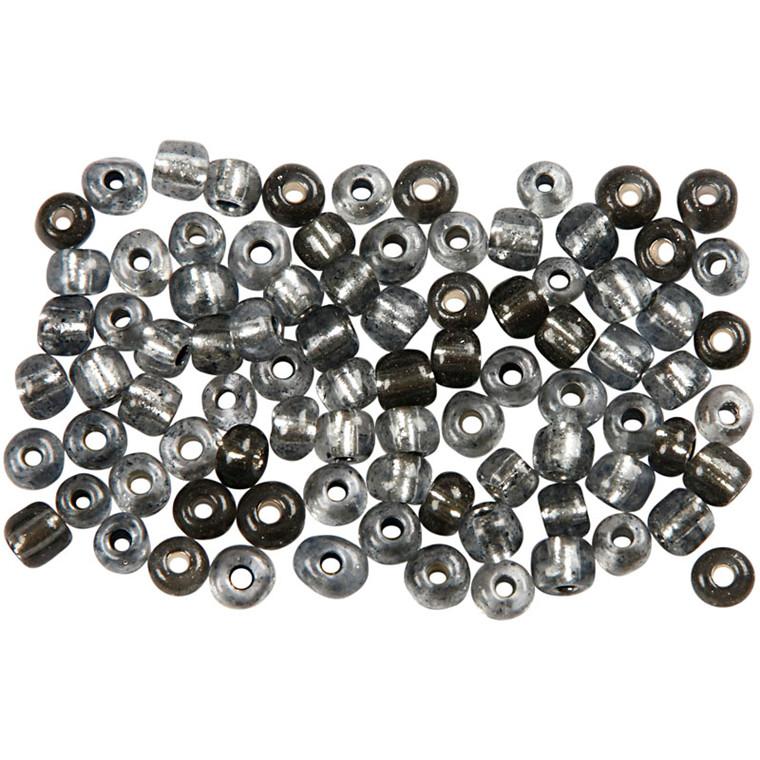 Rocaiperler, dia. 4 mm, hulstr. 0,9-1,2 mm, klar grå, 25g, str. 6/0