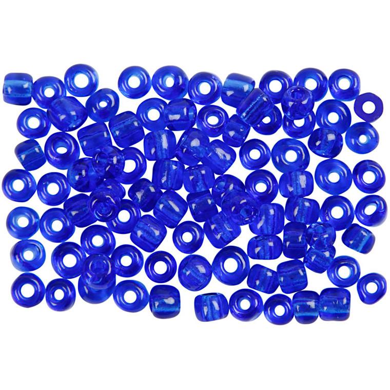 Runde glasperler kobolt blå - Rocaiperler Ø: 4 mm hul 0,9-1,2 mm,  25g, str. 6/0