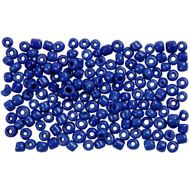 Rocaiperler, dia. 3 mm, hulstr. 0,6-1,0 mm, blå, 25g, str. 8/0