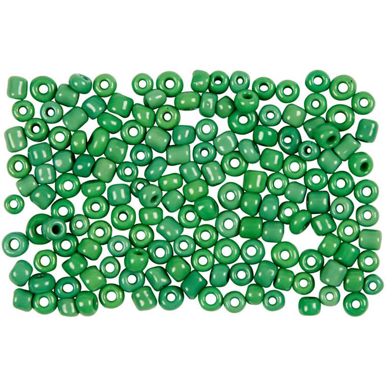 Rocaiperler, dia. 3 mm, hulstr. 0,6-1,0 mm, grøn  , 25g, str. 8/0