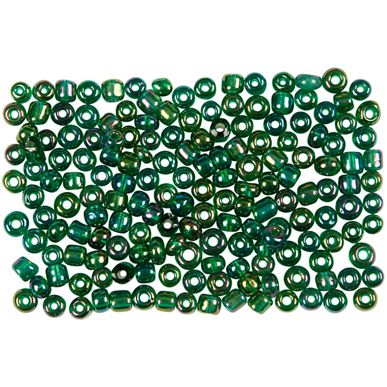 Rocaiperler, dia. 3 mm, hulstr. 0,6-1,0 mm, grøn olie, 25g, str. 8/0