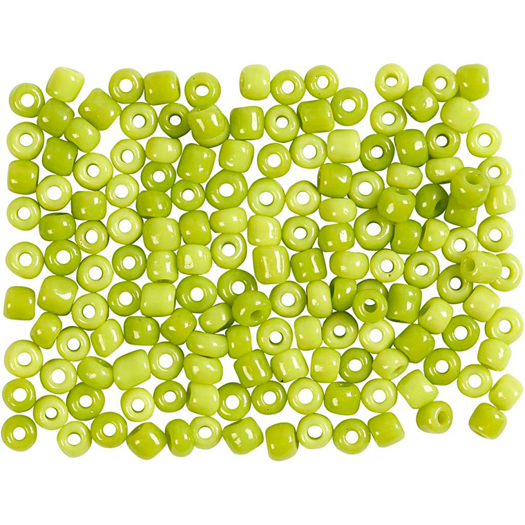Rocaiperler, dia. 3 mm, hulstr. 0,6-1,0 mm, lime grøn, 25g, str. 8/0