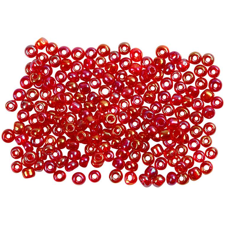 Rocaiperler, dia. 3 mm, hulstr. 0,6-1,0 mm, olie cerise, 25g, str. 8/0