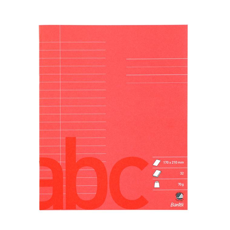 Rød skolehæfte Bantex linjeret - 17 x 21 cm 20 linjer - 32 sider
