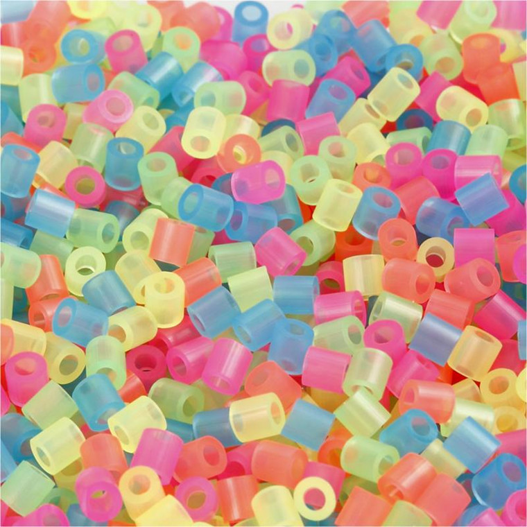 Rørperler størrelse medium 5 x 5 mm - hulstr. 2,5 mm - neonfarver - 1100 assorteret