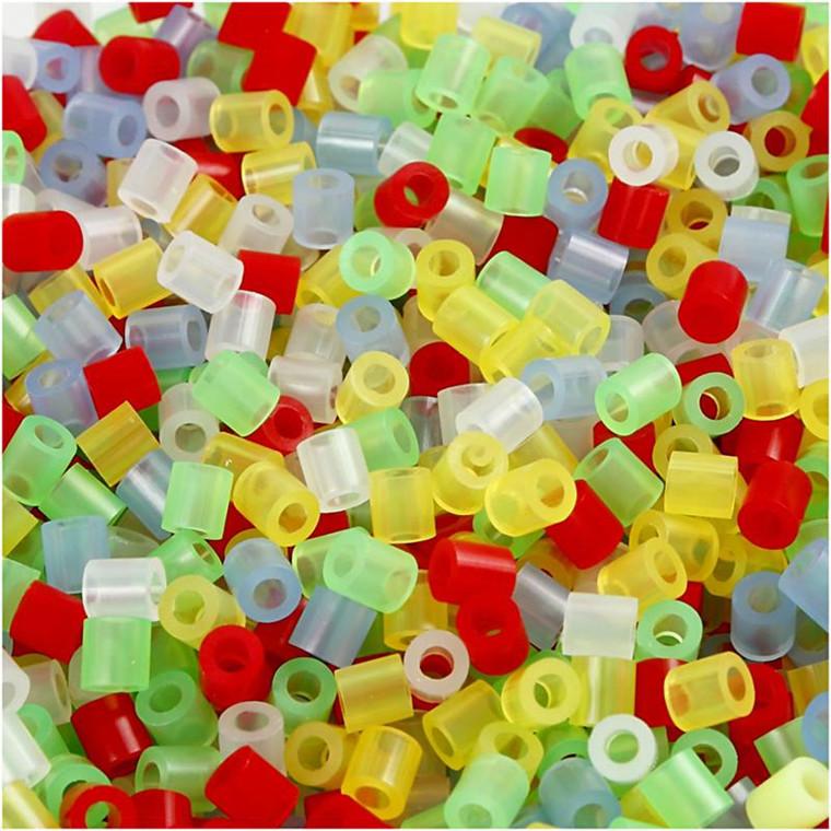 Rørperler størrelse medium 5 x 5 mm - hulstr. 2,5 mm - transparente farver - 1100 assorteret