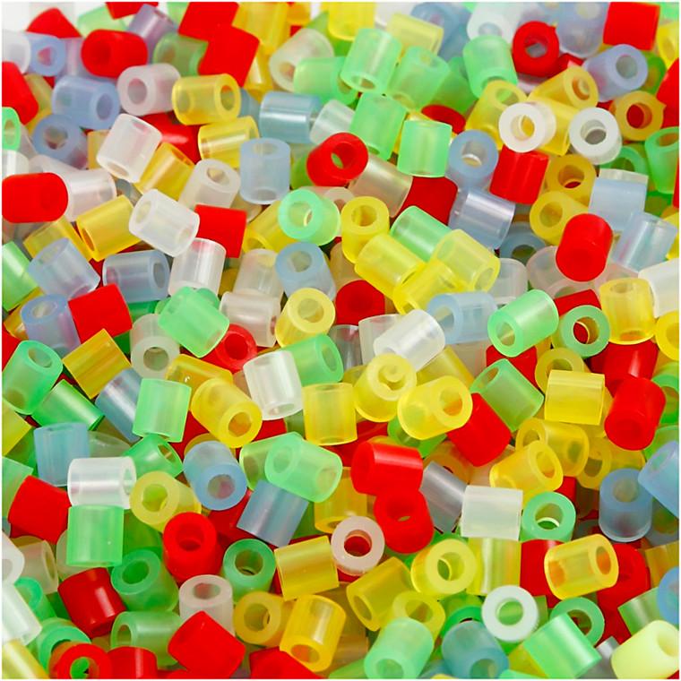 Rørperler medium 5 x 5 mm - transparente farver - 30000 assorteret